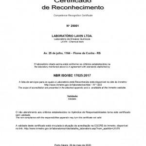 Certificado de Reconhecimento na Rede Metrológica