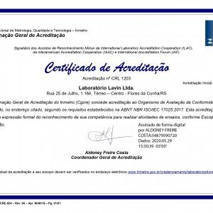 Certificado de Acreditação - ISO 17025